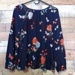 Gap kids blue and floral pullover blouse XXL